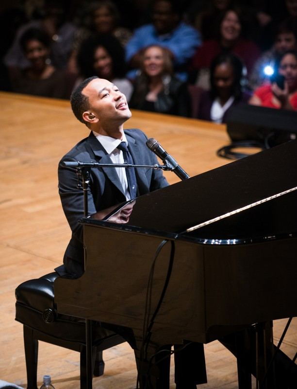 John Legend kept a crowd of more than a thousand spellbound by his words and his music during the 25th anniversary of the Realizing the Dream concert.