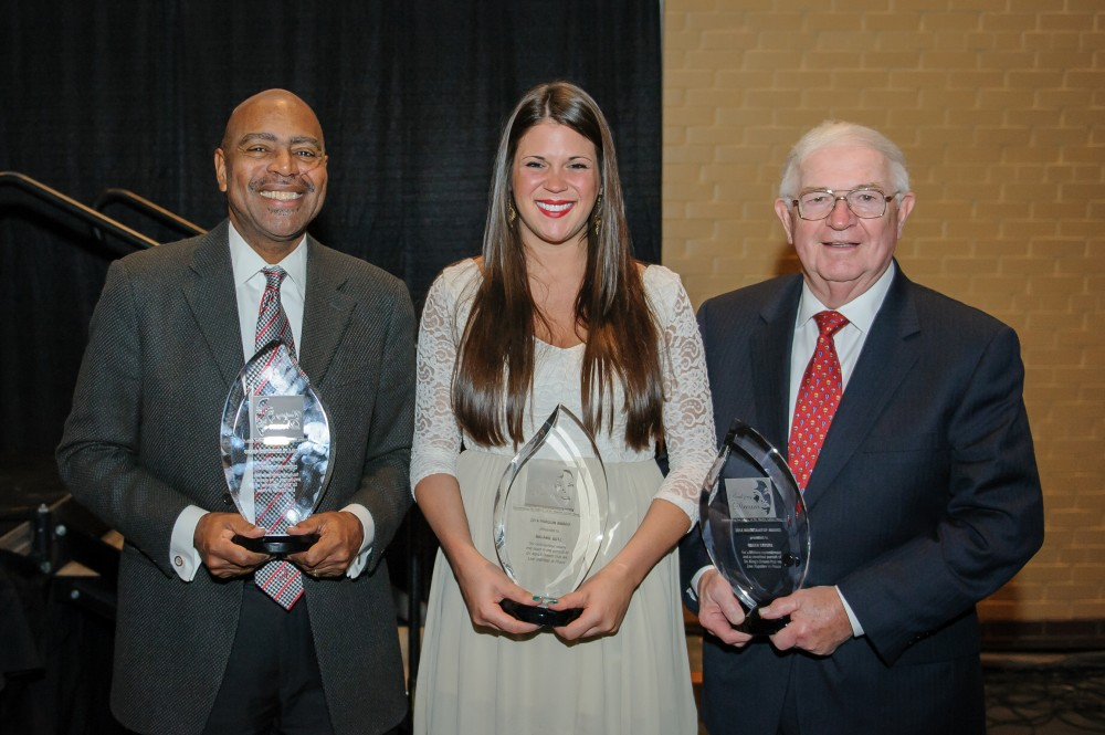 Recipients of the Legacy Banquet Awards, from left: Cleophus Thomas Jr., Call to Conscience Award; Melanie Gotz, Horizon Award; and Dr. Roger Sayers, Mountaintop Award