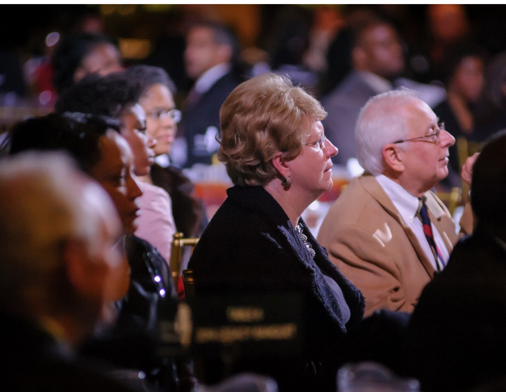 President Judy Bonner, part of the large crowd that attended the Realizing the Dream Legacy Banquet in Foster Auditorium.