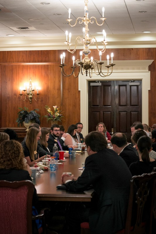 Members of the Academic Success and StudentRetention Committee gathered during the Board's spring meeting, where they pledged to contact area recruiters and encouraged other Board members to do the same as part of their commitment to recruiting students from underserved populations.