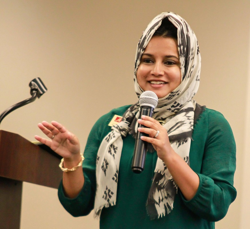 Board officer Rashmee N. Sharif served as emcee for the evening in the absence of BOA President Katie Boyd Britt.