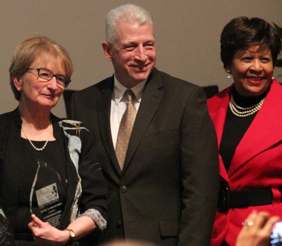 Dr. Ellen Griffith Spears stands with Dr.Kevin Whitaker and Dr. Cynthia Warrick after receiving the Call to Conscience Award.