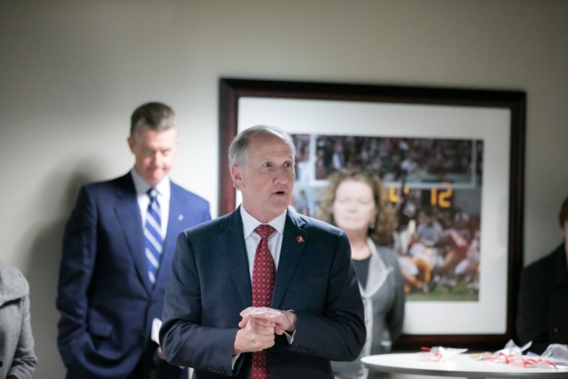 Dr. Stuart R. Bell, UA president, speaks to those gathered in the North Field Suite at Bryant-Denny Stadium Nov. 28 for the announcement of the annual UA United Way campaign total. In a break from tradition, this celebration began indoors and culminated in the north end zone.