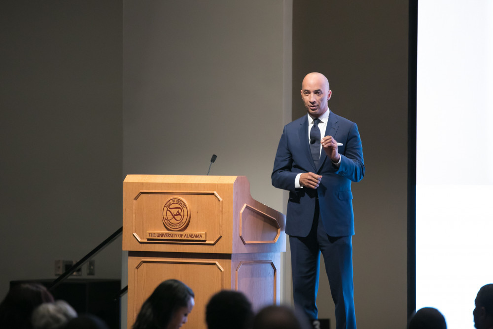 Being of service to others is the highest calling, ABC's Byron Pitts tells a full-house in Sellers Auditorium during the 2019 Realizing the Dream Legacy Banquet.