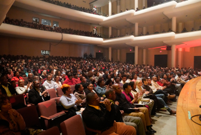 Concert-goers fill Moody Music Concert Hall for the 2019 Realizing the Dream performance featuring guest artist Marvin Sapp.