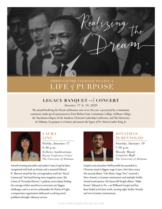 The 2020 Realizing the Dream flyer provides the date, time and honored guests of the banquet and concert.