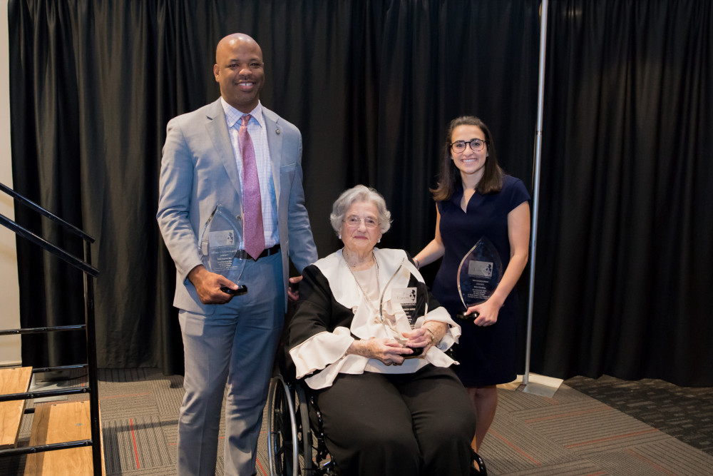 Recipients of the 2020 Realizing the Dream Legacy Banquet Awards, shown here, are Mary Allen Jolley, center, Mountaintop Award winner; Chris England, left, who received the Call to Conscience Award; and Emma Mansberg, winner of the Horizon Award.