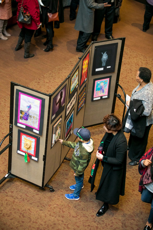 Concertgoers had the opportunity to view artwork on display in the lobby. This annual exhibition of new work created by students in Tuscaloosa City Schools is a tradition of the Realizing the Dream Concert.
